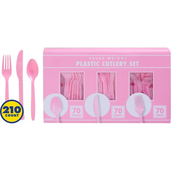 Big Party Pack Pink Plastic Cutlery Set 210ct