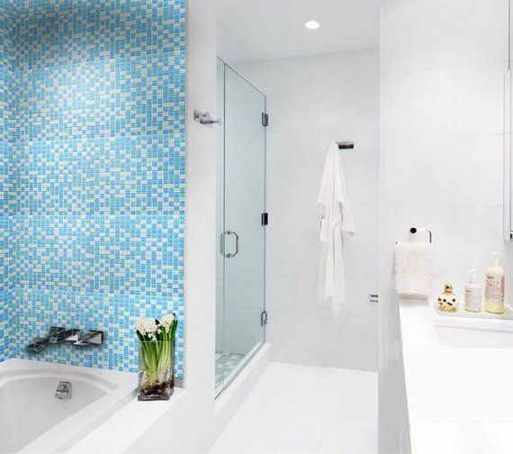 Glass Mosaic Tile In Mixed Blue And White B049 12 X12 Per Sheet