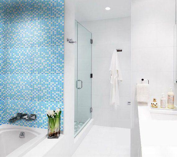 Sea Blue Glass Tile Sheets For Shower Wall Tiles Glossy Etsy Shower Wall Tiles Design Glass Mosaic Tile Kitchen Blue Mosaic Tile
