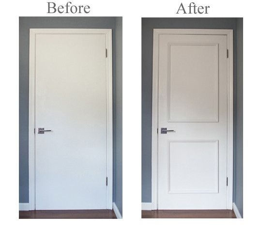 Two Panel Door Moulding Kit- Upgrade flat panel doors quickly & easily! No gluing or nailing! Takes minutes to install! Watch our installation video: https://www.youtube.com/watch?v=re9FIIP9QxU