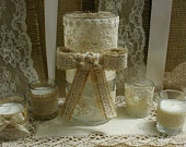Burlap wedding vase, FALL Wedding centerpieces, Country chic wedding  French counrty, rustic country.