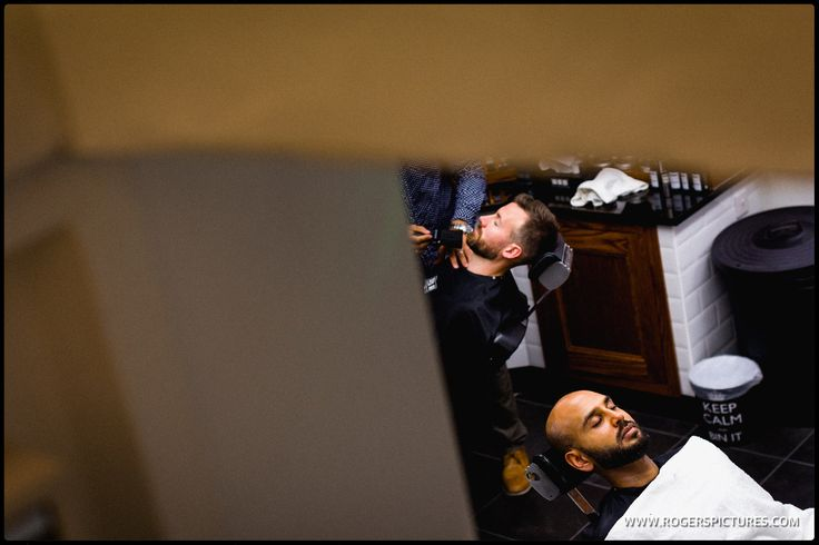 Matt and Sundeep at Pall Mall Barbers before their wedding at Great Barn in Ruislip - more on the blog -