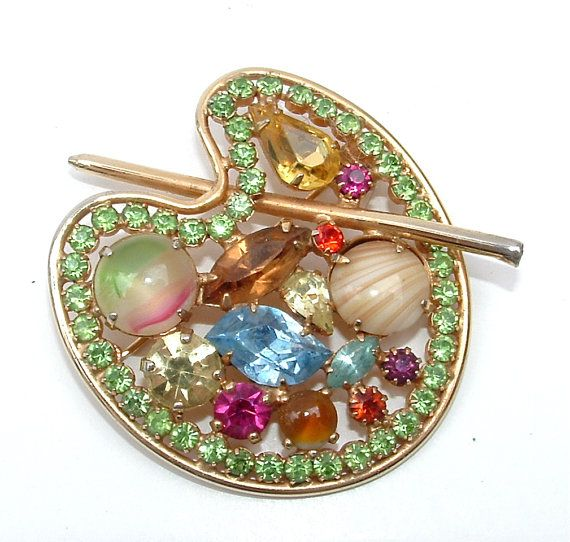 Amazing WEISS Colorful Artist Painting Palette Art Glass Rhinestone Brooch Designer Jewelry, FREE US Shipping on Etsy, $95.00