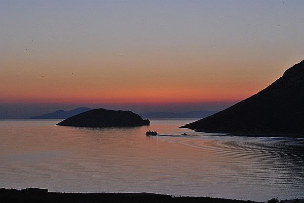 After sunset, off the bay of Agios Pavlos
