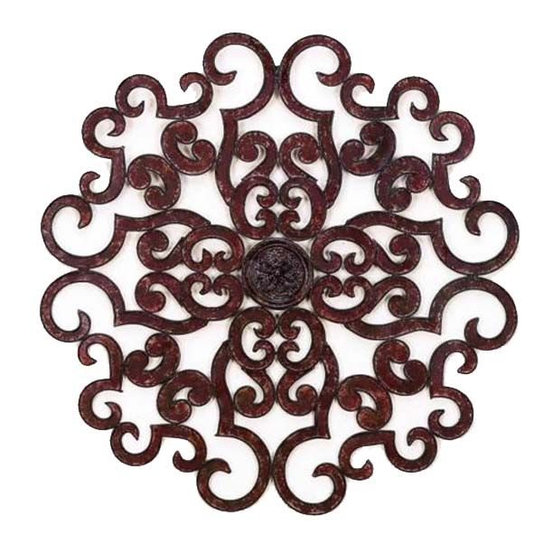 "This dramatic wrought iron and tole medallion design is sure to help transform a vast expanse of blank wall.  Also available in a 50"" version.brbrliDimensions: 38""diameterlibrbrThese uniq..."
