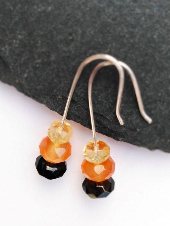 Sterling Silver Drop Earrings. Garnet, Orange/White Carnelian, Citrine Earrings. Minimalist Modern earrings. Mother's day gift. Gift boxed