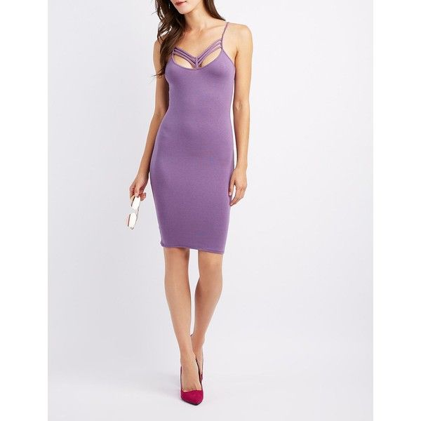 Charlotte Russe Strappy Caged-Front Bodycon Dress ($8.99) ❤ liked on Polyvore featuring dresses, purple, white bodycon dresses, bodycon cocktail dresses, white cocktail dress, white v neck dress and purple cocktail dresses