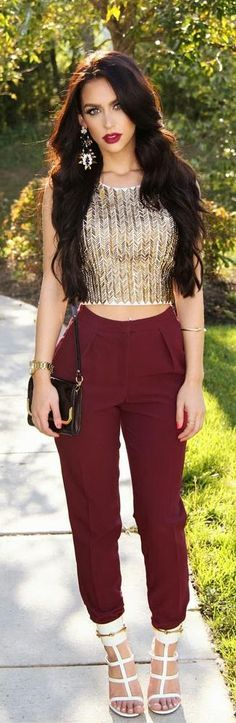 Gold Top and Burgundy High Waist Pant , Lovely Outfits