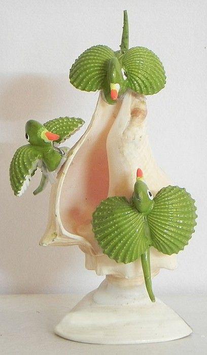 Three Birds on a Shell - Shell Decoration Items (Shell)