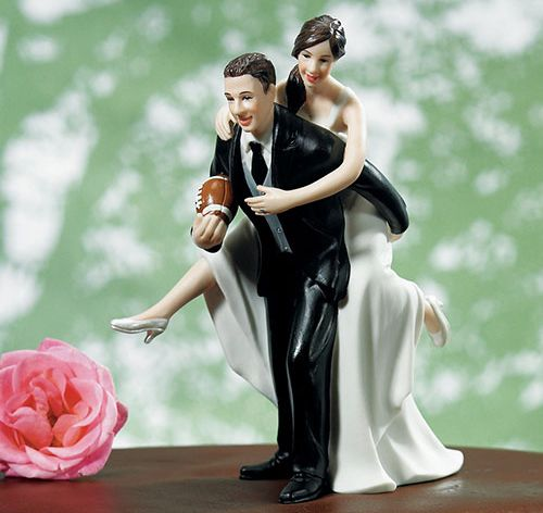 Custom Playful Football Couple Cake Topper | Custom Wedding Cake Topper