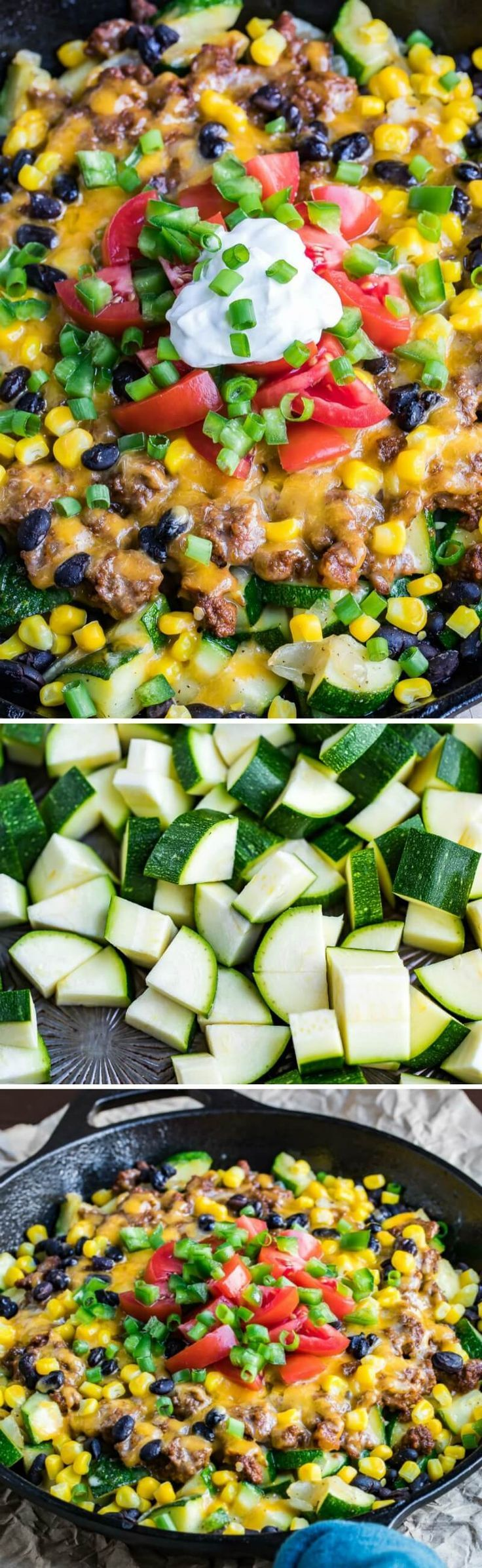 This easy Cheesy One Pan Zucchini Taco Skillet is a totalcrowd-pleaser and ready to rock your weeknight dinner game in record time!