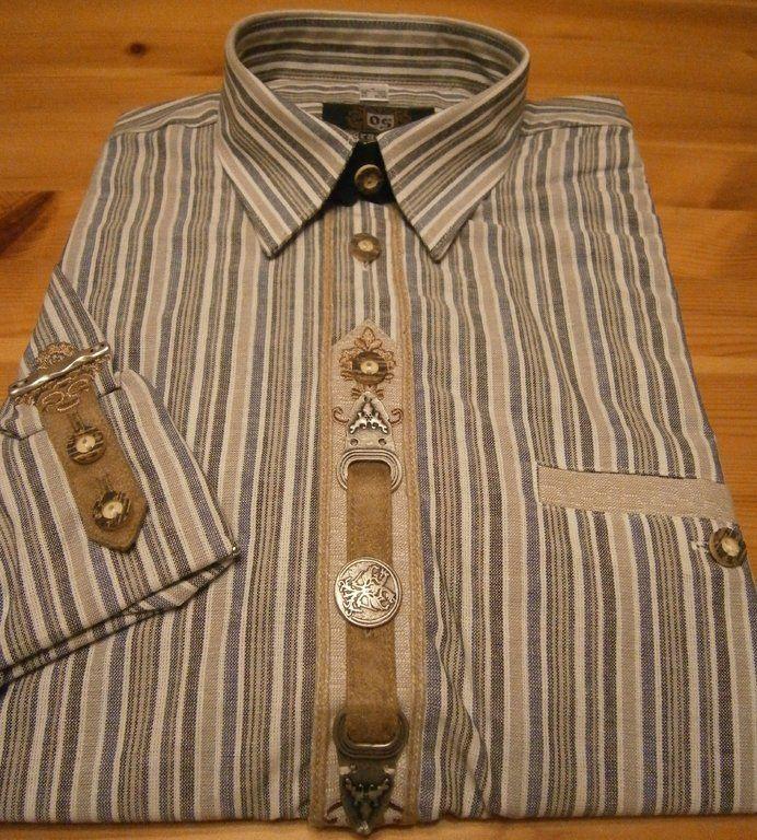 OS-Trachten KA-Hemd 52050, Schickes Krempelarmhemd mit vielen Verzierungen, #Trachtenmode Herren, Landhaus-Boutique Bad Steben
