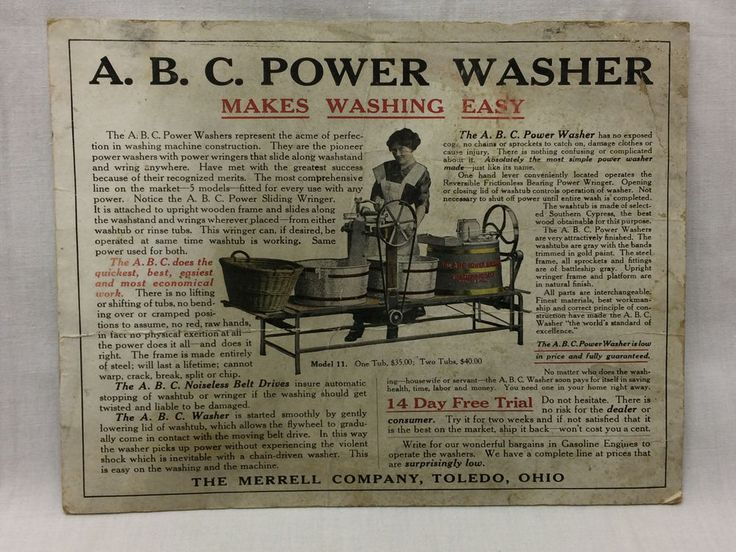 Vtg A.B.C Power Washer Washing Machine Advertising Postcard 1913 Toledo Merrell