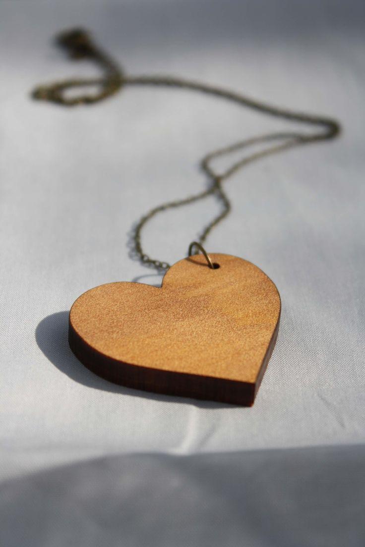 Reclaimed kauri heart necklace - $35