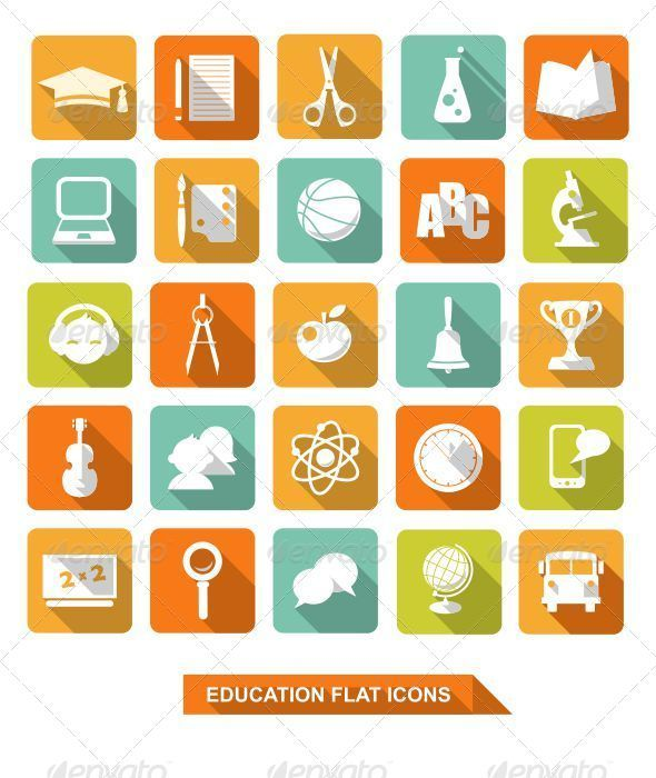Flat Education Icons with Shadow  #GraphicRiver         Set of colorful flat school and education icons   Full vector editable ZIP contain: • vector in EPS10, AI, CDR • PSD file with layers • transparent PNG icons • JPG 4870×5000px                     Created: 6 December 13                    Graphics Files Included:   Photoshop PSD #Transparent PNG #JPG Image #Vector EPS #AI Illustrator                   High Resolution:   Yes                   Layered:   Yes                   Minimum…