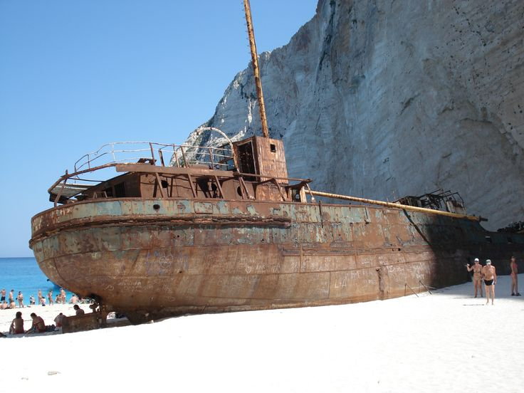 The well known shipwreck in zakinthos beach