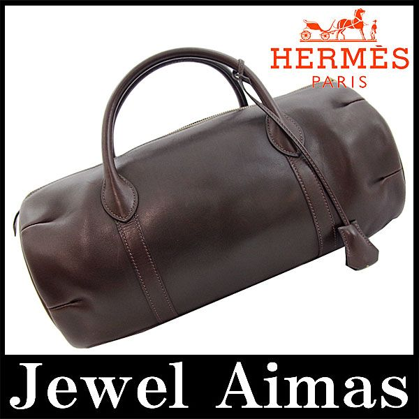 Hermes portion hand Boston bag dark brown evarkerf