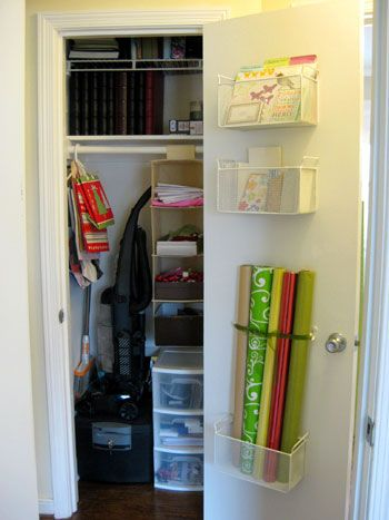 this greeting card/wrapping storage on the back of the door is simple, yet so functional and GENIUS.