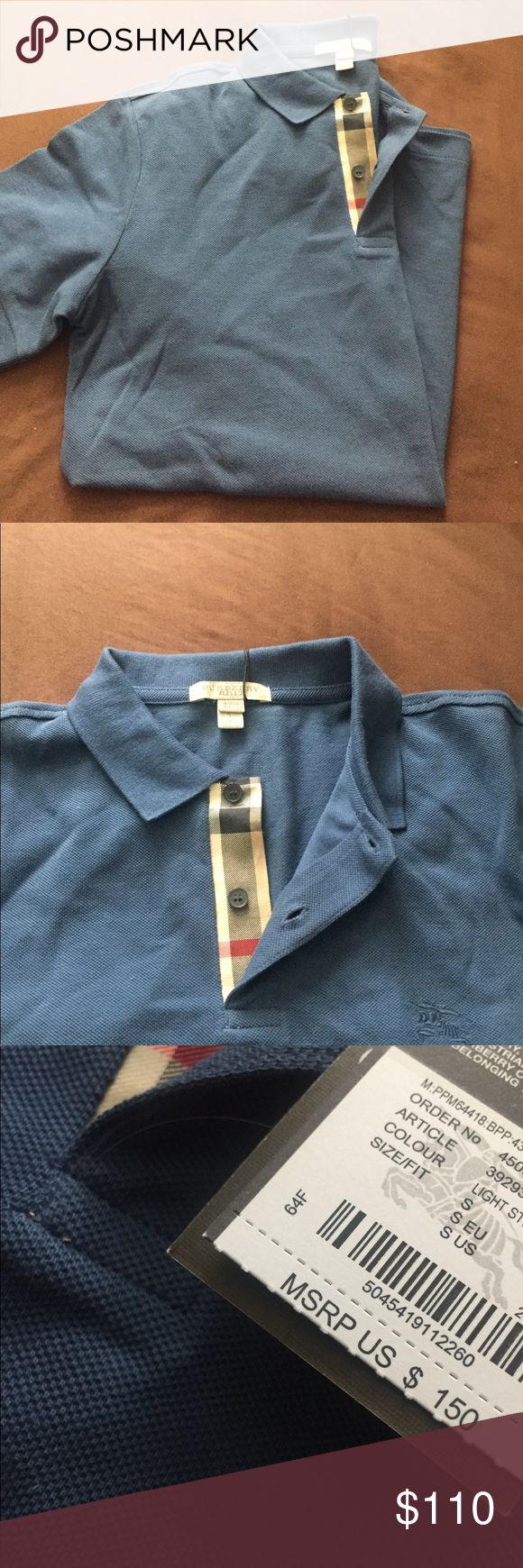 💥FLASH SALE💥AUTHENTIC BURBERRY MEN'S POLO💙 This is a blue gray authentic Burberry men's polo. It does have the tags attached and the classic Burberry check by the buttons. Burberry Shirts Polos