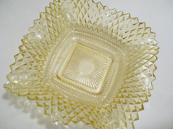 Light Amber Depression Glass Candy Dish With Ruffled Edges