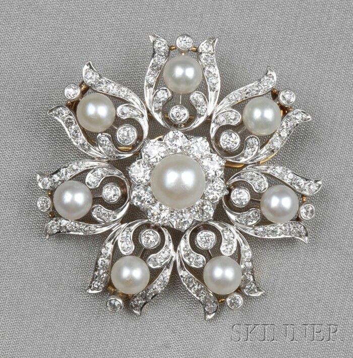 Edwardian Pearl and Diamond Brooch