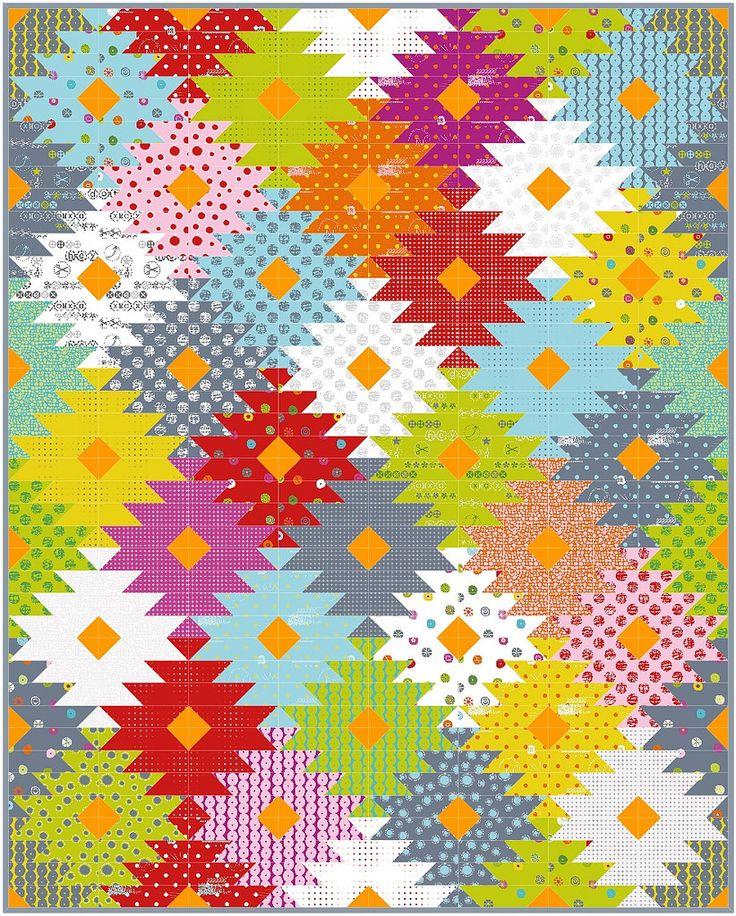 Delectable mountain quilt | made with 2 Jelly Rolls from HEY DOT (Zen Chic, Moda), deutsche Nähanleitung