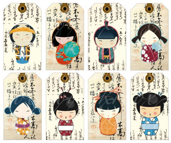 digital collage sheet of 16 Kokeshi doll tags on a background of Asian writing, printable download for paper crafts- no. 179. $3.50, via Etsy.