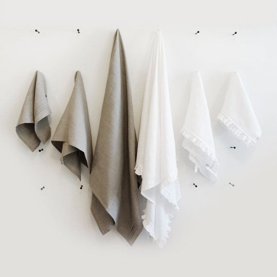 Linen bath towels set  ruffled white or grey by LovelyHomeIdea, $60.00