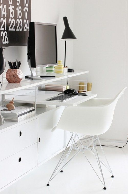 White eames DAR chair and string shelving. Clever use of space for a little desk #office