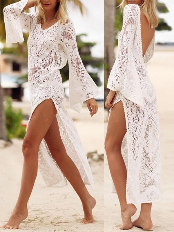 White Lace V Neck Boho V Back Flowy Cover Up Bikini Smock Beach Maxi Dress In 2020 Lace Beach Dress Lace Beach Wear Beach Maxi Dress