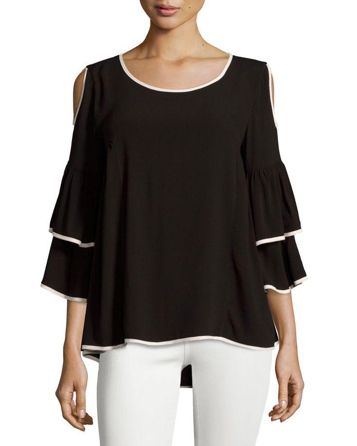 Cirana Cold Shoulder Tunic, Black/Taupe, Women's, Size: L, Black Taup