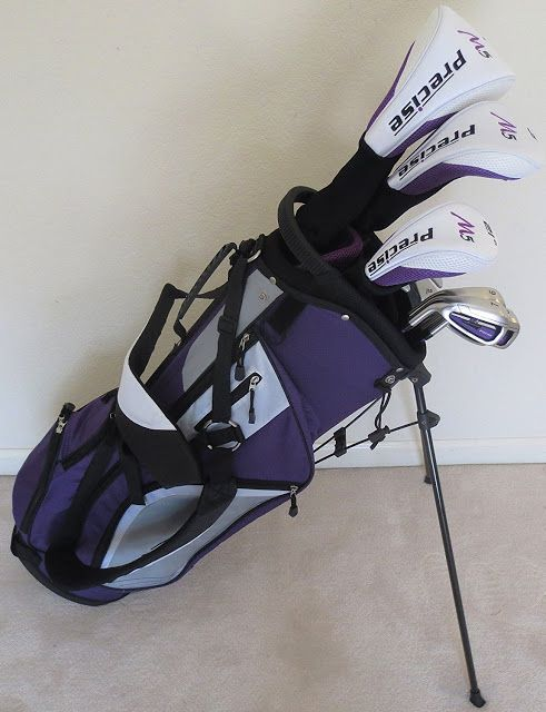 Left-handed golf clubs for ladies in purple lavendar.  This Ladies Left Handed Complete Golf Set in purple lavender has everything you need to hit the course.