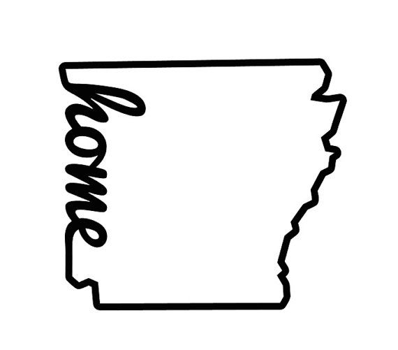 Arkansas Outline Decal with The Word Home by FransEverythingShop