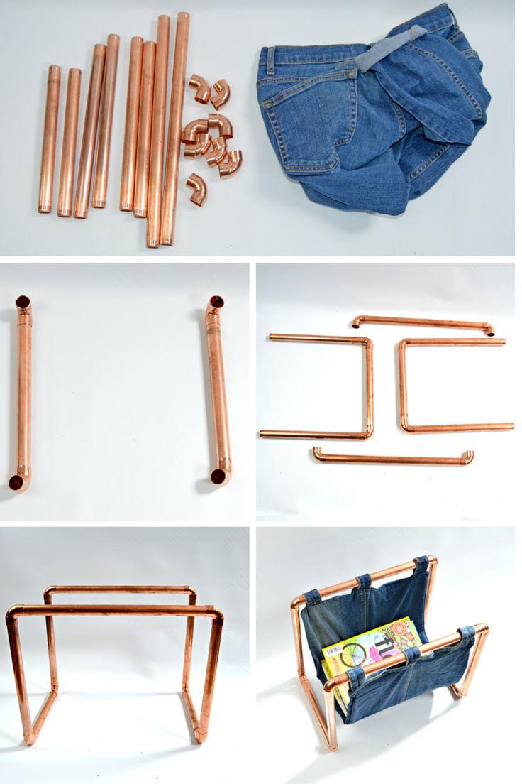 DIY copper denim magazine rack