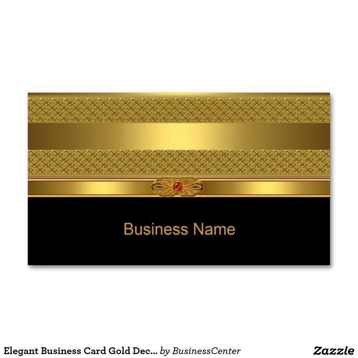 Elegant Business Card Gold Deco Red Jewel Image