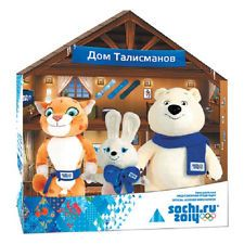 Sochi's mascots for the 2014 Winter Olympics are a squeaky-voiced figure skating bunny, a roly-poly polar bear and a cool-guy snowboard leopard.  Sochi 2014 Olympics plush mascots house: Bunny 8' Leopard9' Polar bear 10'