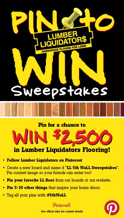 """Your FLOOR is your 5th wall! Get ready to """"decorate"""" and PIN to WIN $2500 in Lumber Liquidators flooring! #5thWaLL #LumberLiquidators #PintoWin"""