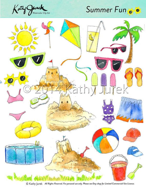 SUMMER CLIP ART Watercolor Beach Pool Toys Digital by kathyjurek