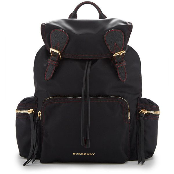 Burberry Rucksack in Black and Parade Red Technical Nylon and Leather (5.445 RON) ❤ liked on Polyvore featuring bags, backpacks, military rucksack, lightweight daypack, black military backpack, nylon backpack and military fashion