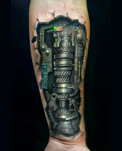 Mechanical Arm Tattoos For Men From TattoosWin.com