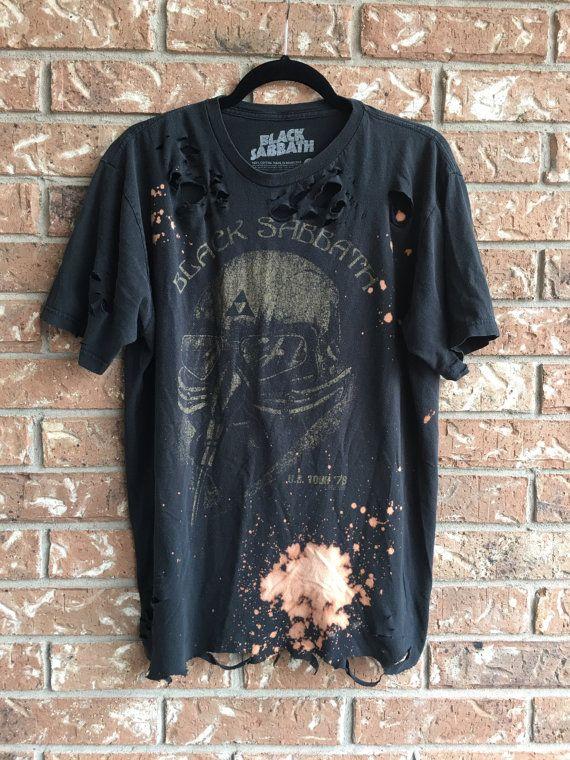 BLACK SABBATH bleach T shirt distressed grunge, concert wear, rock shirt