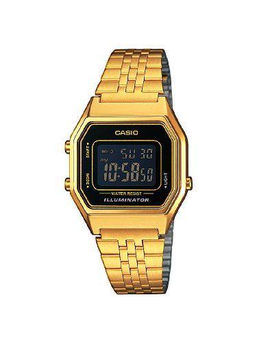 Casio LA680WEGA-1BER - Reloj digital de cuarzo para mujer con correa de acero inoxidable dorado