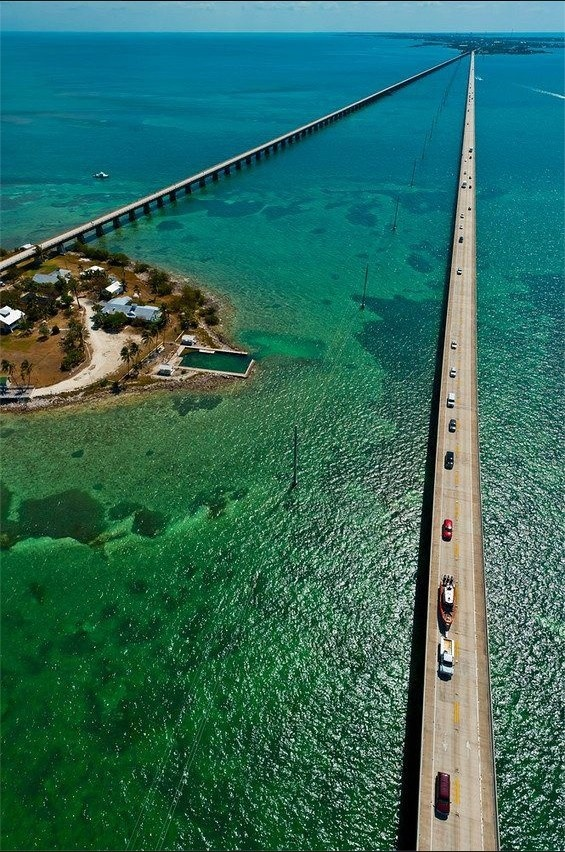 "Aerial View of the Seven Mile Bridge, Florida Keys, Florida USA looking North into Marathon... the old bridge on the left is where the movie ""True Lies"" was made."