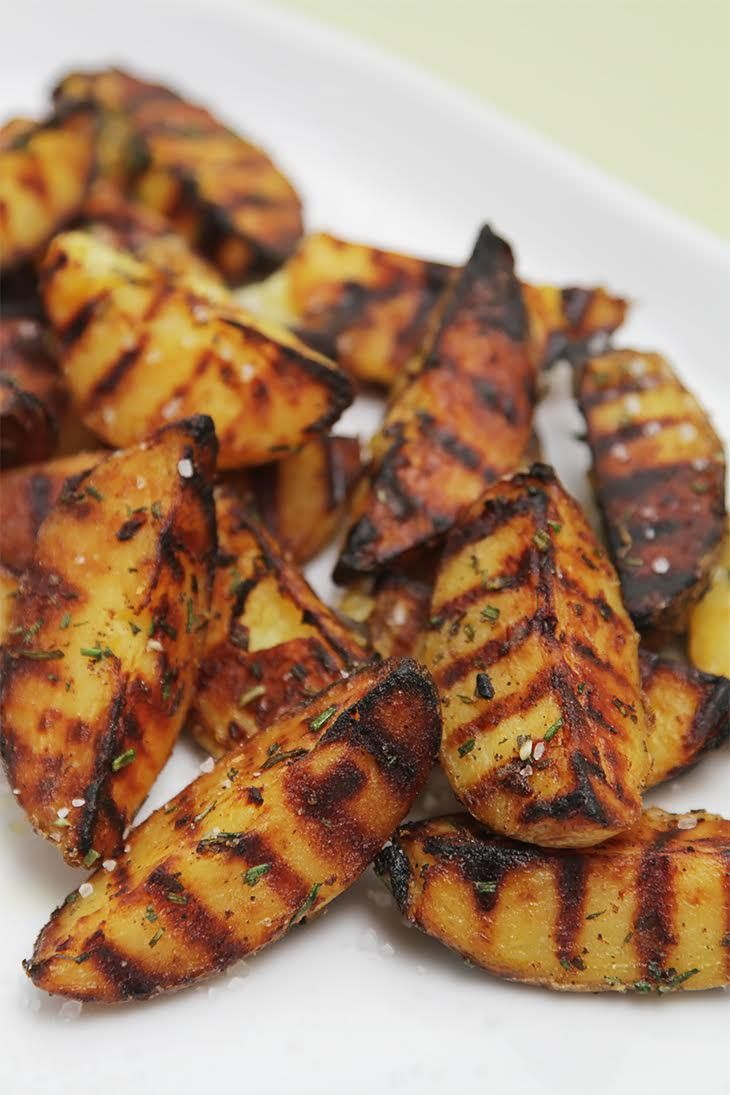 Grilled potatoes with rosemary, garlic and coarse sea salt #recipe