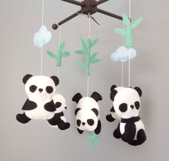 Baby Mobile Crib Baby Mobile Nursery Decor Panda by wonderfeltland