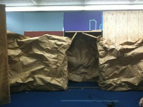 How to make a cave.      First I started off with some paper mil paper. It is pretty heavy duty stuff, and it come in a roll, but don't ask...