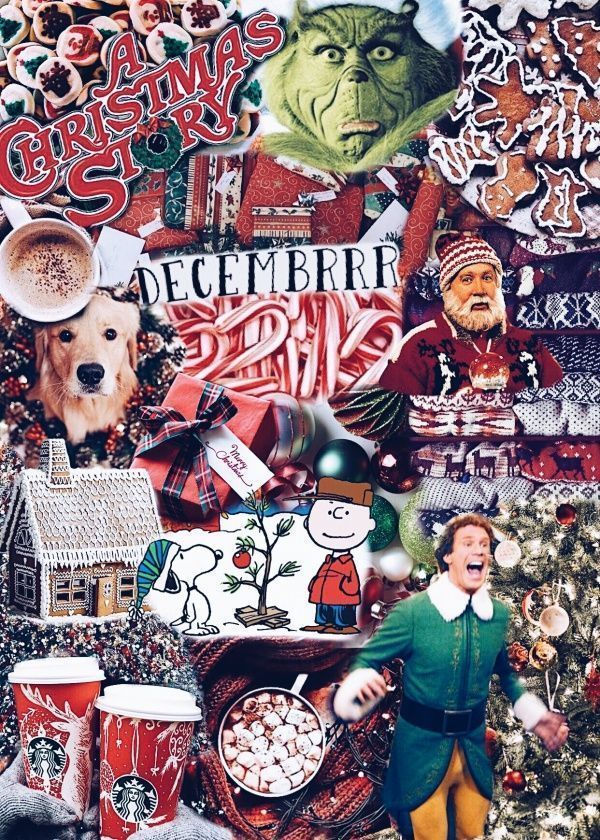 Collage Christmas Wallpaper Aesthetic Iphone
