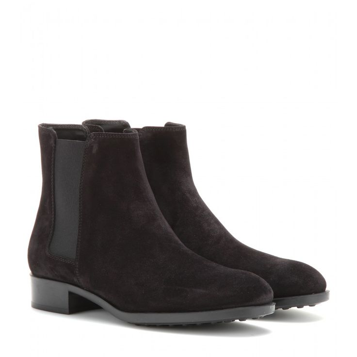 Tod's - Suede Chelsea boots - A black Chelsea boot is a practical investment no matter what the season. Always in style, the timeless silhouette and classic colour will make them a go-to. We love the supple suede texture of Tod's comfortable pair.  seen @ www.mytheresa.com
