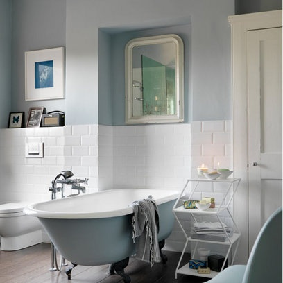 Duck egg love the painted bath - Bathroom decorating ideas blue walls ...