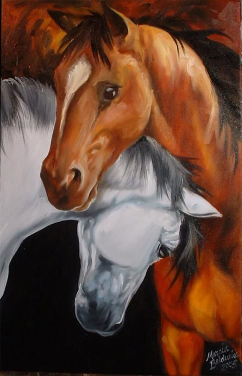 Marcia Baldwin (©2004 artmajeur.com/marciabaldwin) Two horses nuzzling each other in a friendly horse talk. Dark earthy tones with high contrast depicting a dark bay horse and a white horse with dark mane.